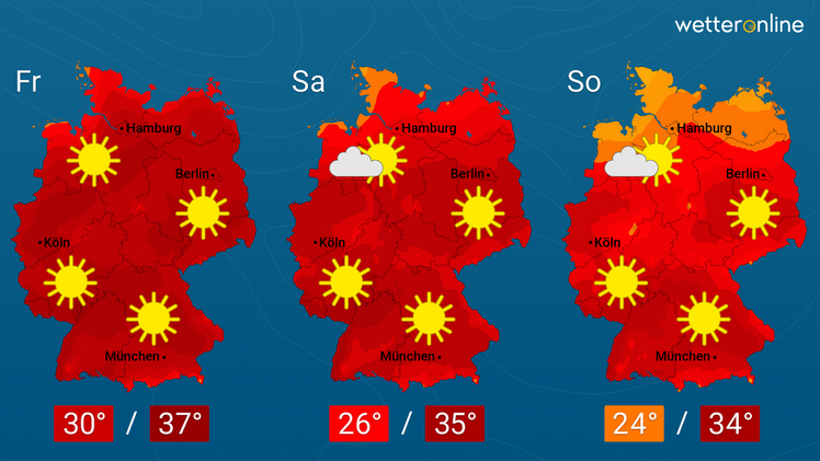 Die aktuelle Wetterkarte. Grafik: WetterOnline..